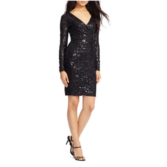 86f5dd5ef Lauren Ralph Lauren Sequined Lace Surplice Dress 2